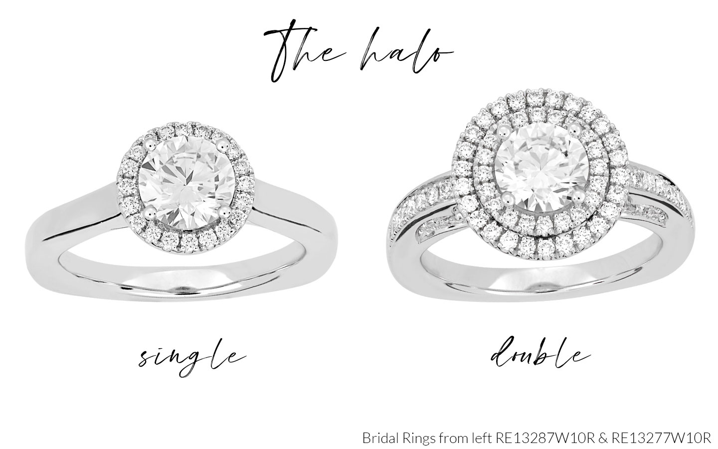 Halo Bridal Rings RE13287W10R and RE13277W10R